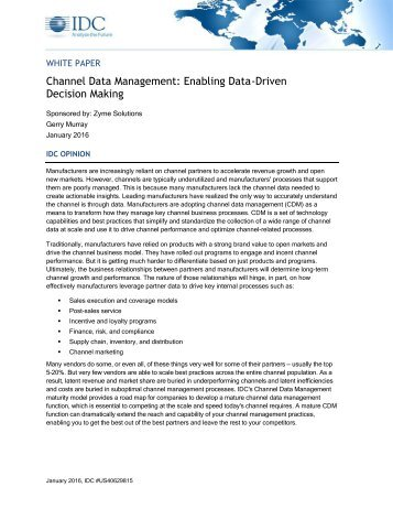 White Paper Channel Data Management: Enabling Data-Driven Decision Making