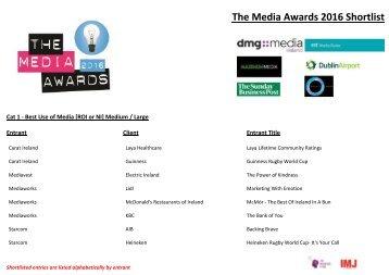 The Media Awards 2016 Shortlist