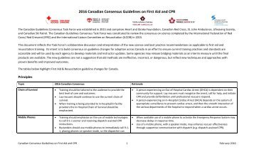 2016 Canadian Consensus Guidelines on First Aid and CPR