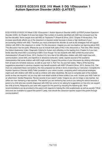 ECE 201 Week 5 Final Paper Behavioral Support Plans