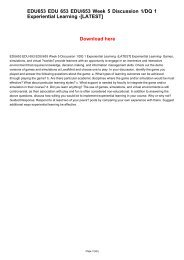 EDU653 EDU 653 EDU/653 Week 5 Discussion 1/DQ 1 Experiential Learning -[LATEST]