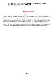 EDU653 EDU/653 EDU 653 Week 2 Discussion 1/DQ 1 Student Accountability -[LATEST]