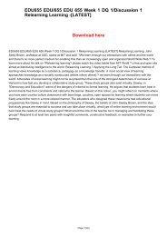 EDU655 EDU/655 EDU 655 Week 1 DQ 1/Discussion 1 Relearning Learning -[LATEST]