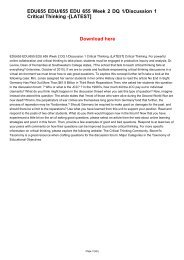 EDU655 EDU/655 EDU 655 Week 2 DQ 1/Discussion 1 Critical Thinking -[LATEST]