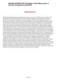 EDU655 EDU/655 EDU 655 Week 4 DQ 2/Discussion 2 Concord Consortium -[LATEST]