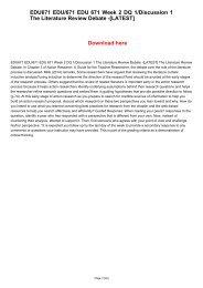 EDU671 EDU/671 EDU 671 Week 2 DQ 1/Discussion 1 The Literature Review Debate -[LATEST]