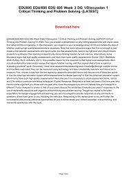 EDU695 EDU/695 EDU 695 Week 3 DQ 1/Discussion 1 Critical Thinking and Problem Solving -[LATEST]
