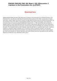 ENG202 ENG/202 ENG 202 Week 4 DQ 2/Discussion 2 Literature in the Postmodern Era -[LATEST]