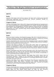 List of publications, as of october, 2012 - Silke Birgitta Gahleitner