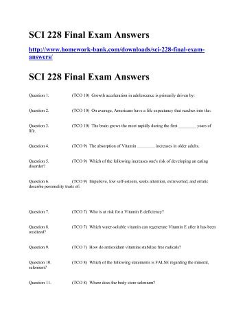 SCI 228 Final Exam Answers