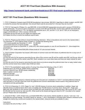 ACCT 551 Final Exam