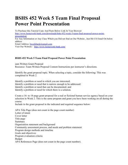 BSHS 452 Week 5 Team Final Proposal Power Point Presentation