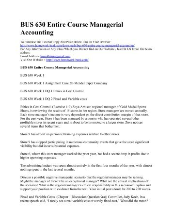 Ba 225 managerial accounting complete course