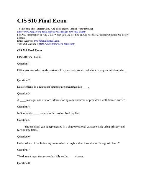 CIS 510 Final Exam