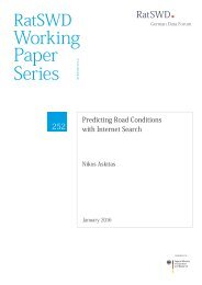 Working Paper Series of the German Data Forum (RatSWD)
