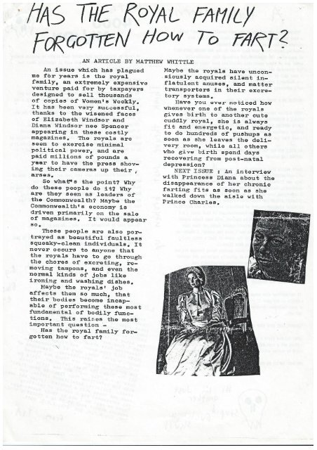 Object Dismembered Fanzine, Issue 1, 1985