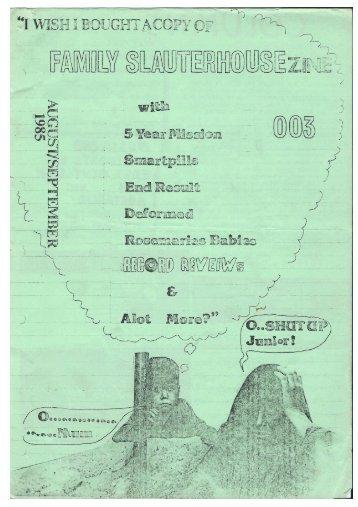 Family Slaughterhouse Fanzine, issue 3, 1985