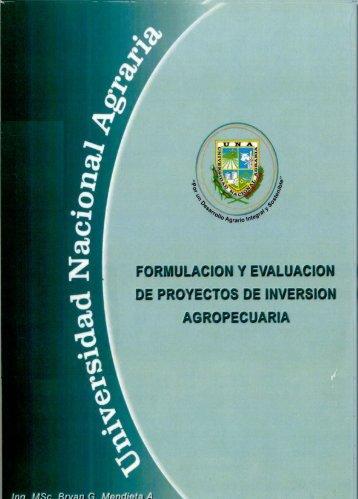 Formulación y evaluación de proyectos de inversión agropecuaria