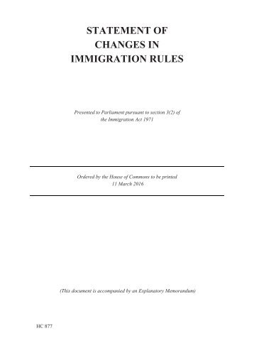 STATEMENT OF CHANGES IN IMMIGRATION RULES