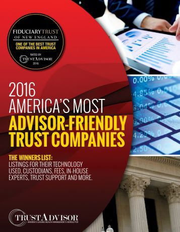2016 AMERICA'S MOST ADVISOR-FRIENDLY TRUST COMPANIES