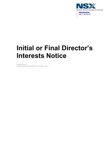 Initial or Final Director's Interests Notice