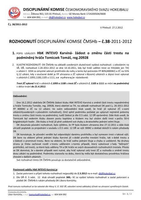 ROZHODNUTÍ DISCIPLINÁRNÍ KOMISE ČMSHb ... - HOKEJBAL.cz
