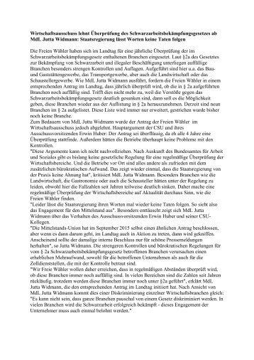 Pressemitteilung der Freien Wähler Bayern: Wirtschaftsausschuss lehnt Überprüfung des Schwarzarbeitsbekämpfungsgesetzes ab