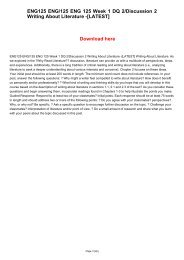 ENG125 ENG/125 ENG 125 Week 1 DQ 2/Discussion 2 Writing About Literature -[LATEST]