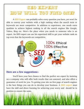 SEO Expert - How Will You Find One