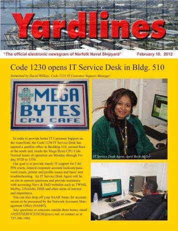 Code 1230 opens IT Service Desk in Bldg. 510