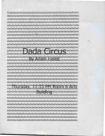 Flier: Dada Circus: Outlaw Playwrights: State College Pa: September 24, 1998