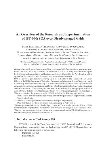 An Overview of the Research and Experimentation of IST-090: SOA ...