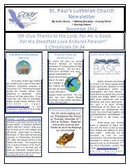 Nov 2012 Church Newsletter - St. Paul's Lutheran Church & School