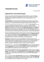 Stabwechsel in der Imperial-Gruppe - Imperial Logistics International