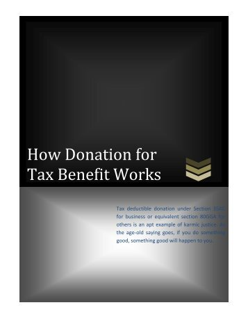 How Donation for Tax Benefit Works