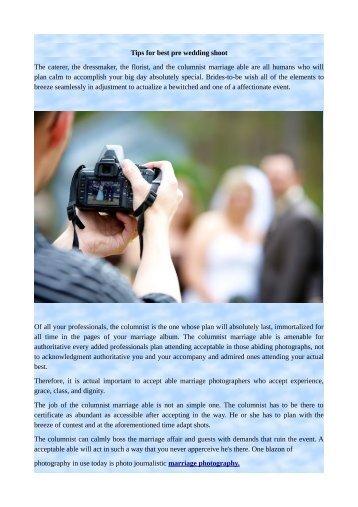 Tips for best pre wedding shoot