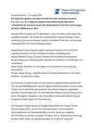 IMPERIAL Logistics International GmbH weiter auf Expansionskurs