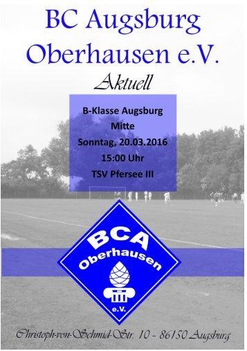 Heimspiel BC Augsburg Oberhausen vs. TSV PFersee III am 20.03.2016