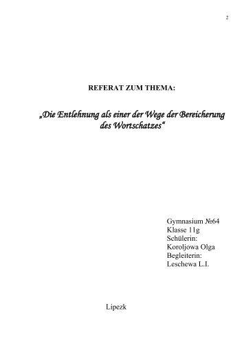 """""""Die Entlehnung als einer der Wege der Bereicherung des ..."""