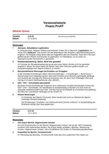 Versionshistorie Finanz ProfiT  - Implaneum GmbH