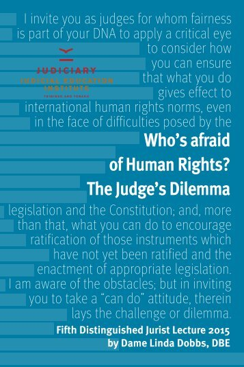 Who's afraid of Human Rights? The Judge's Dilemma