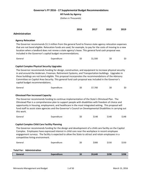 Governor's FY 2016 - 17 Supplemental Budget Recommendations Administration