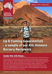 Up & Coming Geoscientists - a sample of our AIG Honours Bursary Recipients