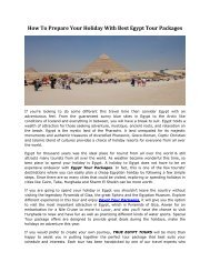 How to Prepare Your Holiday With Best Egypt Tour Packages