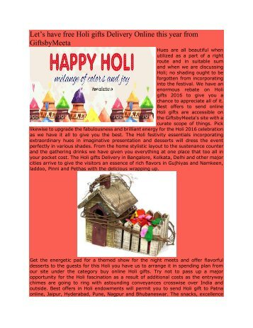 Holi gifts Delivery Online this year from GiftsbyMeeta
