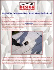 Need Of An Experienced Roof Repair Miami Professional