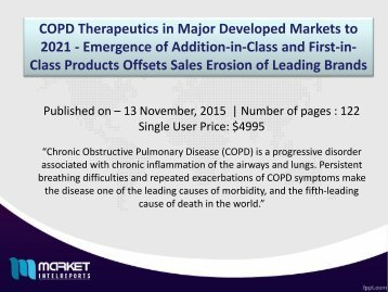 Chronic Obstructive Pulmonary Disease (COPD) Market to reach $11.2 Billion by 2021