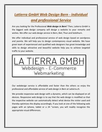 Latierra GmbH Web Design Bern - individual and professional Service