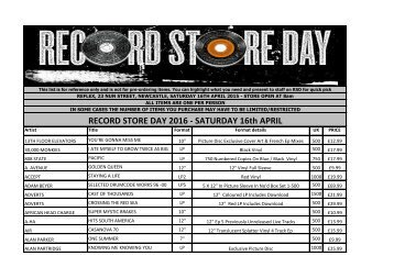RECORD STORE DAY 2016 - SATURDAY 16th APRIL
