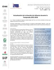 Actualización de la situación de influenza durante la Temporada 2015-2016